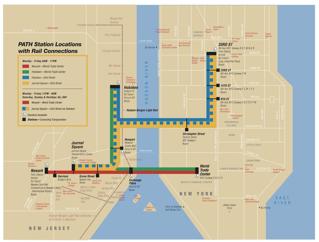 从泽西市怎样到曼哈顿 Jersey City PATH to New York City Manhattan map, Grove Street PATH, Newport PATH, Exchange Place PATH,Hoboken PATH,Short Hills
